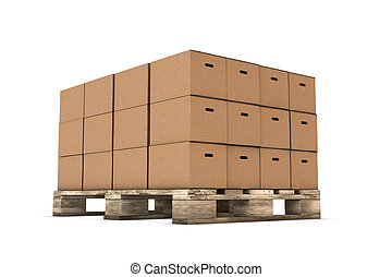Staple of cardboard boxes isolated on white background