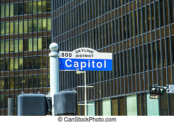 streetsign capitol street in Skyline district in Houston