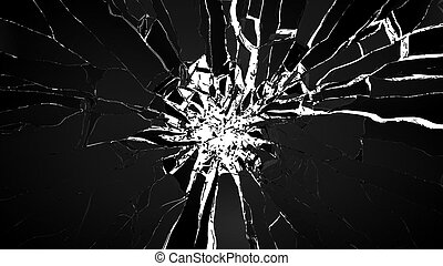 Demolishing: pieces of cubic shattered glass isolated on...