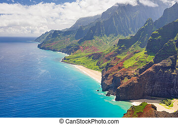 Na Pali Cost on Kauai - View on Na Pali Cost on Kauai island...