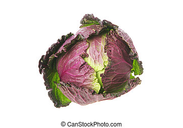 Red and green cabbage isolated against white