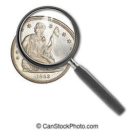 Coin dollar and magnifying glass isolated on white made in...