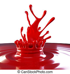 Splashes of red colorful liquid with droplets