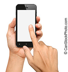 Hand holding and Touch on Black Smartphone with blank screen...