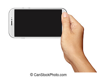 Hand holding White Smartphone in horizontal on white...
