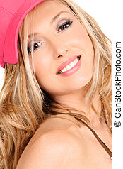 Smiling woman with long blond hair
