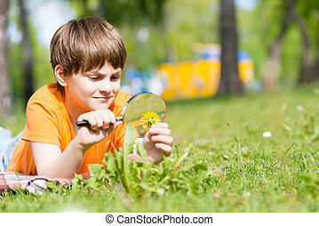 young scientist - boy in the park with a magnifying glass...