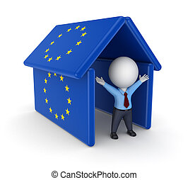 3d person under the roof made od EU flagsIsolated on white