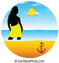 girl on the beach in the circle vector illustration