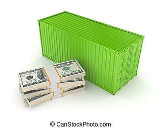 Green container and stack of dollars.