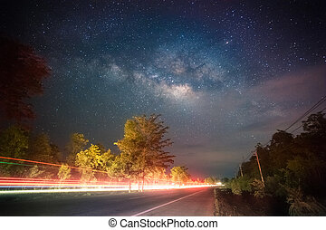 Miky way on high way road - Milky way on the high way road,...