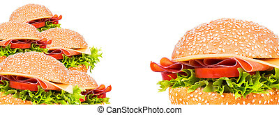tasty burger background isolated on a white