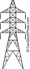 Power line Silhouette of Power line and electric pylon,...