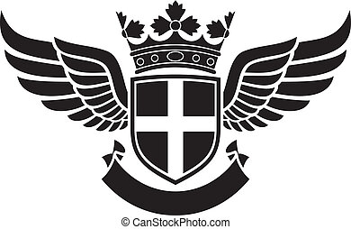 coat of arms - shield, crown and wings tattoo tattoo design,...