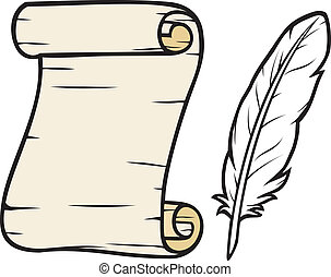 old paper with feather roll of old paper and feather, scroll...