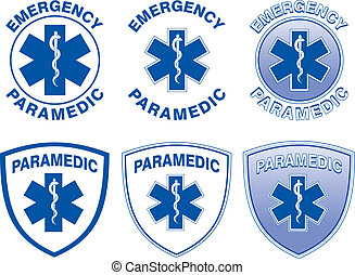 Paramedic Medical Designs - Illustration of six emergency...