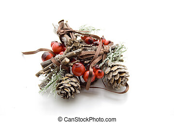 Christmas flower arrangement with berry branch on white...