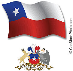 chile textured wavy flag vector