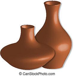 3d vases against white