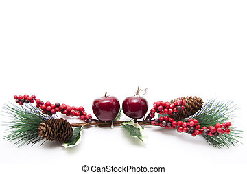 Christmas flower arrangement on white background