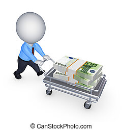 Big stack of dollars on a pushcart.Isolated on white.3d...