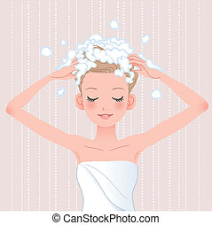 Young woman washing her head with shampoo in bathroomFile...