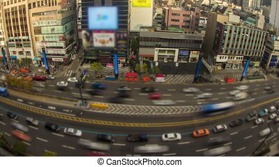 Seoul City Zoom 28 - 28) Zooming time lapse of traffic and...