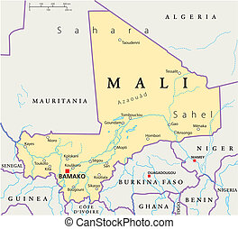 Mali Political Map - Political map of Mali with the capital...