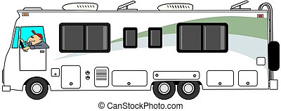Class A motorhome - This illustration depicts a man driving...