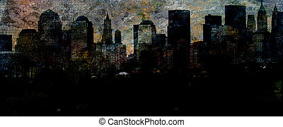 NYC - New York City Abstract with text