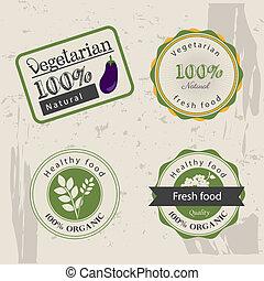 vegetarian food labels over vintage background vector...