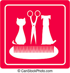grooming barbershop for pet with dog, cat scissors and comb...