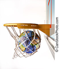 Basket ball with earth globe text