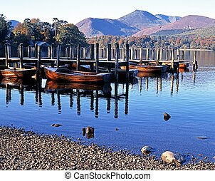 Derwent Water, Keswick, Cumbria - Rowing boats and moorings...