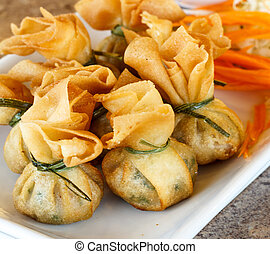Fried pork dumplings wrapped is food thailand
