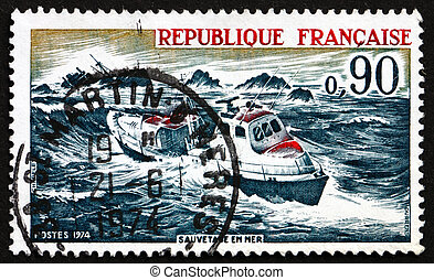 Postage stamp France 1974 Sea Rescue - FRANCE - CIRCA 1974:...