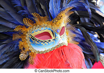 Close up of a carnival mask