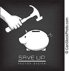 save up design over black background vector illustration