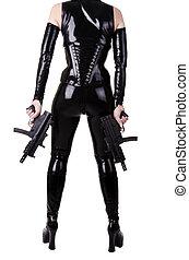 armas, excitado, mulher