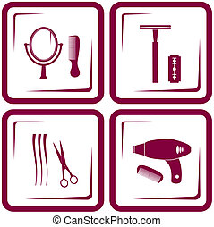 set barbershop tools - symbol of beauty care