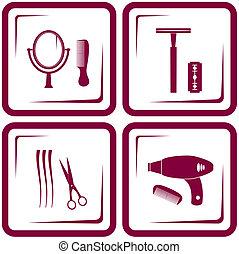 理髪店, セット, 道具