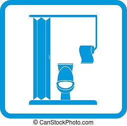restroom icon - pan, toilet paper - vector restroom icon...