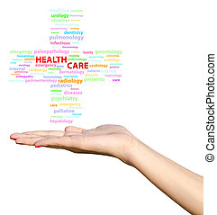 Young Girl Hand Holding Health Care Cross Word Cloud...