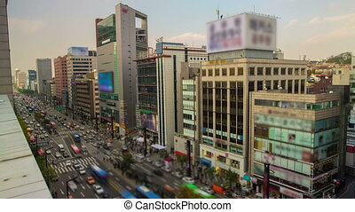 Seoul City 29 - 29) Time lapse of traffic and architecture...