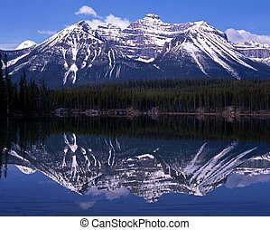 Herbert Lake, Alberta, Canada. - Herbert Lake with snow...