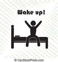 wake up over white background vector illustration