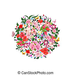 Round pattern of beautiful flowers for your design