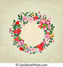 Round frame of beautiful flowers for your design