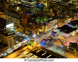 the heart of melbourne - night view of melbourne city from...
