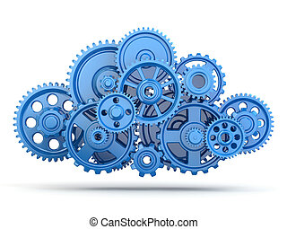 Gears Cloud computing - Cloud computing from gears on white...